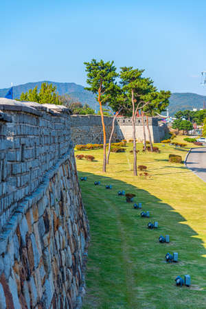 Fortification of Hwaseong fortress at Suwon, Republic of Korea Stock fotó