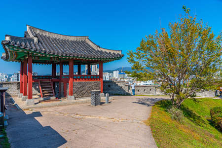 Fortification of Hwaseong fortress at Suwon, Republic of Korea