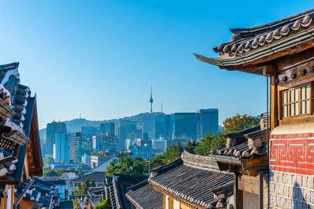 Namsan tower viewed from Bukchon hanok village in Seoul, Republic of Korea