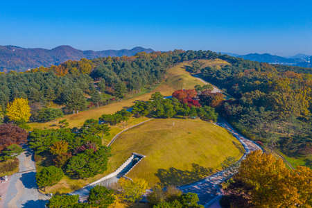 Aerial view of Tomb of King Muryeong in Gongju, Republic of Korea
