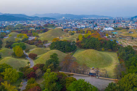 Sunset aerial view of Tumuli park containing several royal tombs in Gyeongju, Republic of Korea