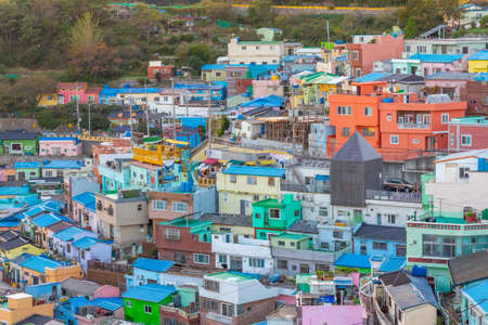 Colorful facades of houses at Gamcheon cultural village in Busan, Republic of Korea
