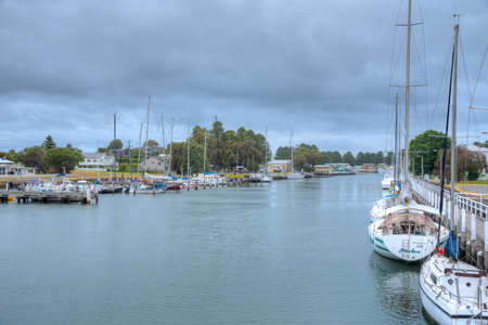 Boats mooring at Moyne river at Port Fairy, Australia