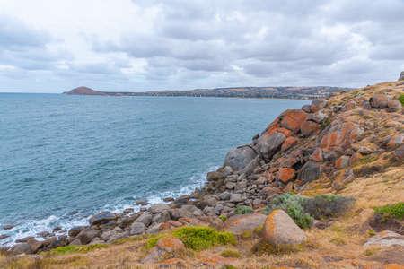 Landscape of Granite island near Victor Harbor in Australia Stock Photo