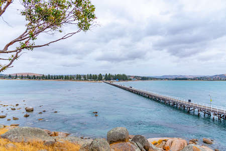 Wooden causeway connecting Victor Harbor with Granite island in Australia