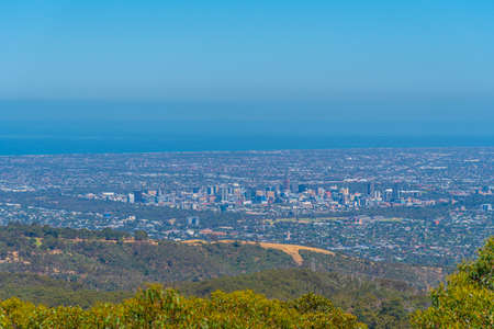 Aerial view of Adelaide from Mount Lofty, Australia