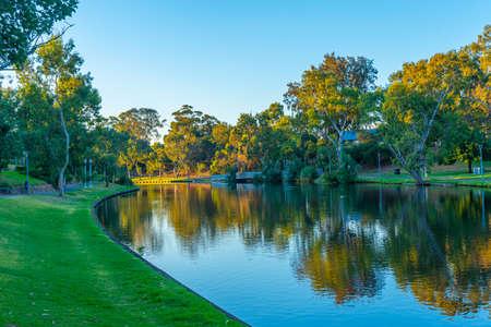 Park alongside Torrens river in Adelaide, Australia