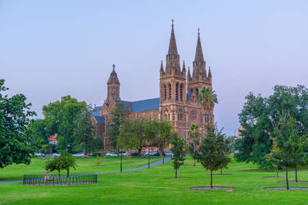 Sunset view of St. Peter's cathedral in Adelaide, Australia