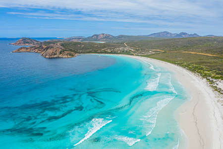 Aerial view of Lucky bay near Esperance viewed during a cloudy day, Australia