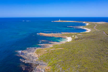 White lighthouse at Cape Leeuwin in Augusta, Australia