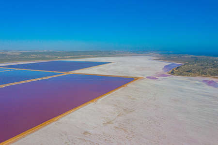 Pink lake at port gregory in Australia