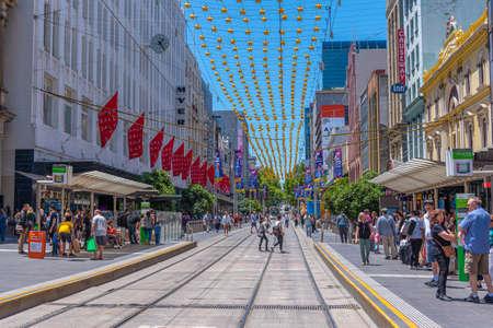 MELBOURNE, AUSTRALIA, DECEMBER 31, 2019: Bourke street in center of Melbourne, Australia Stock Photo