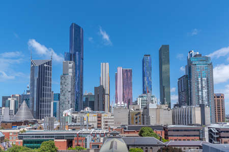 MELBOURNE, AUSTRALIA, DECEMBER 31, 2019: Skyscrapers at Central Business District of Melboure, Australia