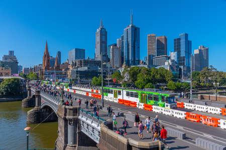 MELBOURNE, AUSTRALIA, DECEMBER 31, 2019: Skyline of Melbourne viewed behind Princess bridge, Australia Stock Photo