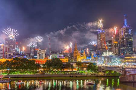 MELBOURNE, AUSTRALIA, DECEMBER 31, 2019: New years fireworks over melbourne, Australia Stock Photo