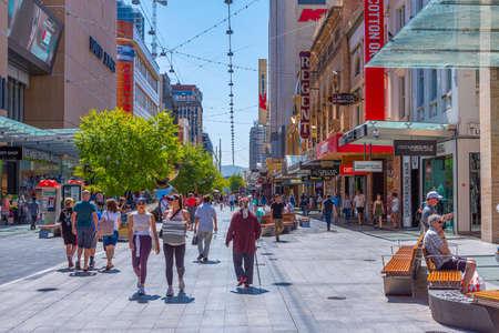 ADELAIDE, AUSTRALIA, JANUARY 7, 2020: Rundle Mall street in center of Adelaide, Australia