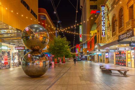 ADELAIDE, AUSTRALIA, JANUARY 6, 2020: Sunset view of a Rundle Mall street in center of Adelaide, Australia