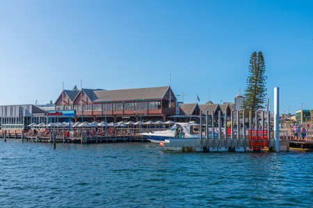 FREMANTLE, AUSTRALIA, JANUARY 19, 2020: Fishing boat harbor in Fremantle, Australia