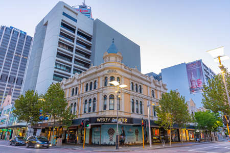 PERTH, AUSTRALIA, JANUARY 19, 2020: Sunset view of a street in central Perth, Australia Stock Photo