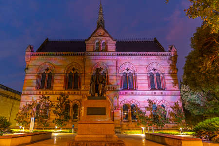 Night view of statue of Sir Walter Hughes in front of the University of Adelaide in Australia