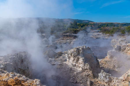 Hot pools at Hell's Gate Geothermal Reserve in New Zealand Фото со стока