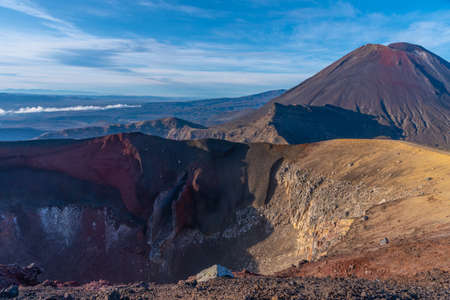 Red crater and Mount Ngauruhoe at Tongariro national park in New Zealand Stock Photo