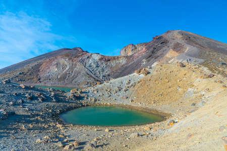 Emerald lake at Tongariro national park in New Zealand Stock Photo