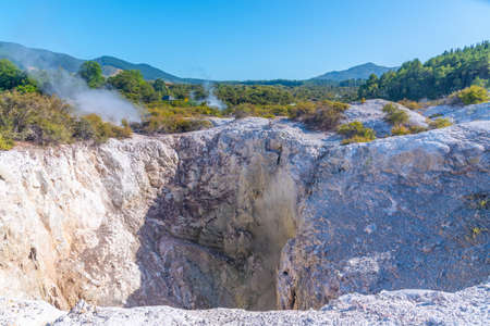 Craters at Wai-O-Tapu in New Zealand