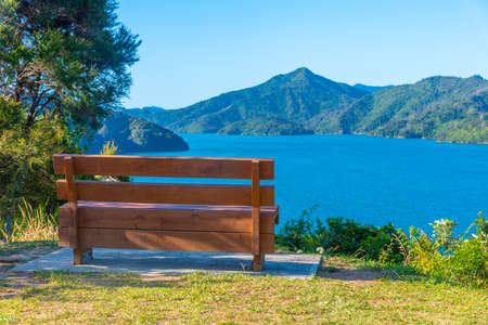 Bench overlooking Queen Charlotte sound at New Zealand