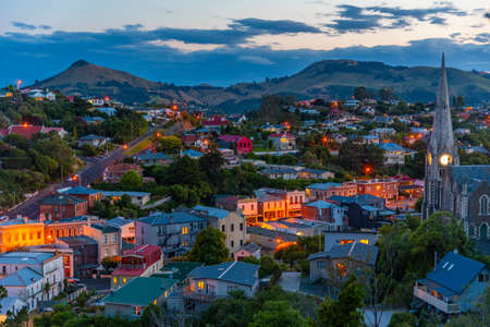 Sunset view of Port Chalmers in New Zealand
