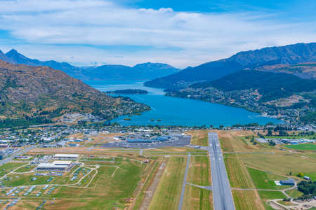Aerial view of Queenstown airport, New Zealand