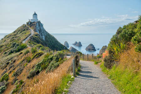 Lighthouse at Nugget point in New Zealand Stock fotó
