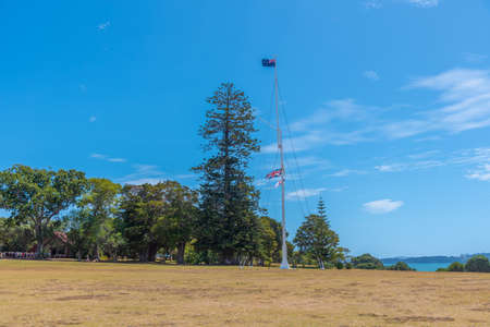 Flagstaff at Waitangi treaty grounds in New Zealand
