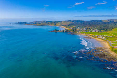 Aerial view of a Beach at Kaka point in New zealand