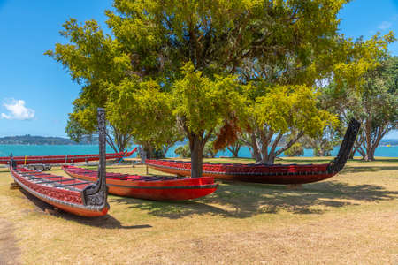 Maori war canoe at Waitangi treaty grounds in New Zealand