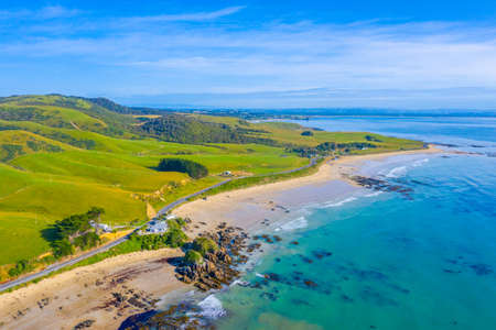 Aerial view of a Beach at Kaka point in New zealand Stock fotó