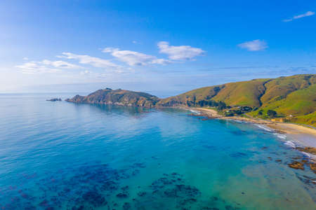 Aerial view of Nugget point in New Zealand