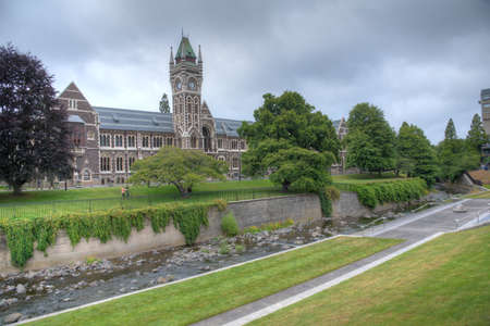 Historical building in the campus of University of Otago in Dunedin, New Zealand Foto de archivo