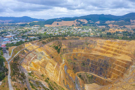 Aerial view of Martha mine at Waihi, New Zealand