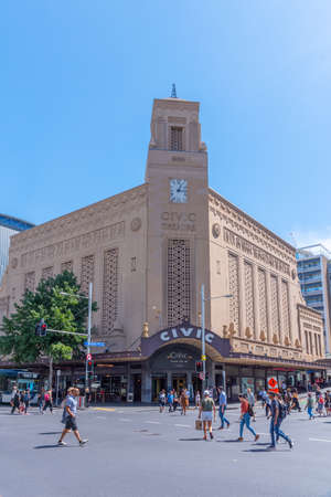 AUCKLAND, NEW ZEALAND, FEBRUARY 20, 2020: People are passing Civic theatre in central Auckland, New Zealand