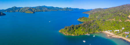 Grove arm of Queen Charlotte sound at South Island of New Zeland Imagens