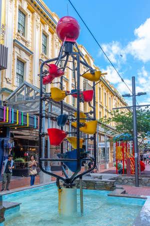 WELLINGTON, NEW ZEALAND, FEBRUARY 9, 2020: Bucket fountain at Cuba street in central Wellington, New Zealand