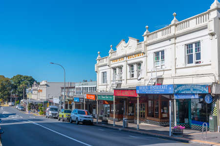 AUCKLAND, NEW ZEALAND, FEBRUARY 20, 2020: Main street in Devonport neighborhood in Auckland, New Zealand