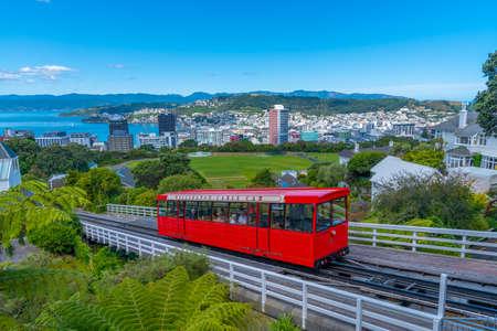 WELLINGTON, NEW ZEALAND, FEBRUARY 9, 2020: Cable car on the way to Wellington botanic gardens, New Zealand