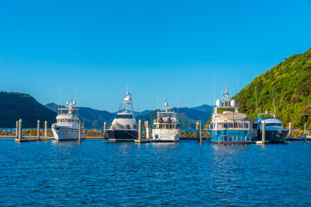 PICTON, NEW ZEALAND, FEBRUARY 7, 2020: Sunset view over marina in Picton, New Zealand