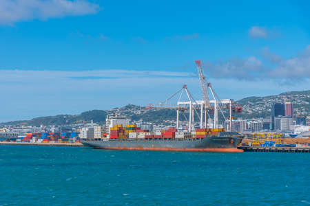 WELLINGTON, NEW ZEALAND, FEBRUARY 8, 2020: Container port in Wellington, New Zealand Stock Photo