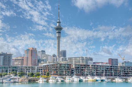 AUCKLAND, NEW ZEALAND, FEBRUARY 19, 2020: Sky tower view from port of Auckland, New Zealand