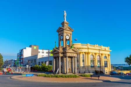 INVERCARGILL, NEW ZEALAND, JANUARY 26, 2020: Clock tower at Invercargill, New Zealand