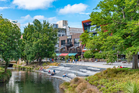 CHRISTCHURCH, NEW ZEALAND, JANUARY 21, 2020: Sunny day at Oxford terrace in Christchurch, New Zealand