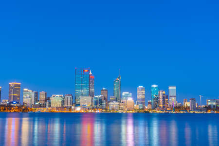 PERTH, AUSTRALIA, JANUARY 18, 2020: Night view of Perth across Swan river, Australia